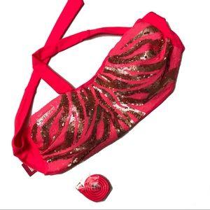 NWT XL sparkly pink strapless halter bikini top